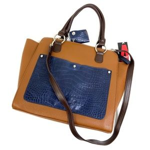 Aurielle | Brown and Navy Satchel Bag NEW